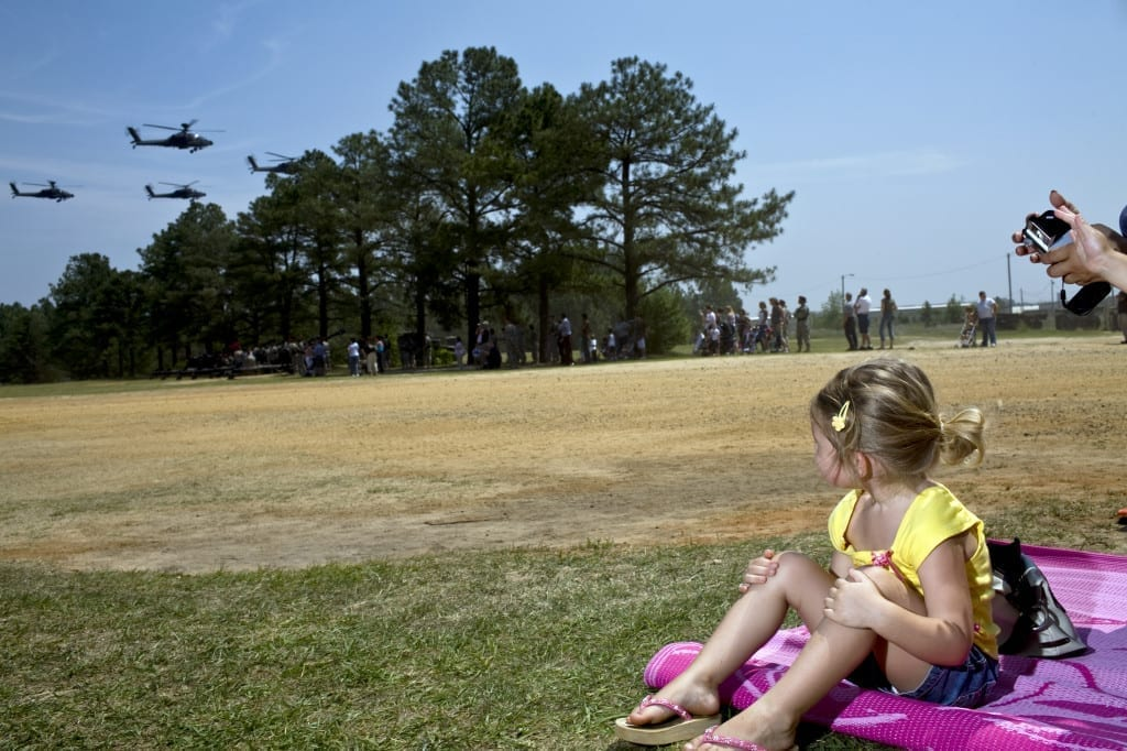 """Helicopter Fly By during All American Day at Ft. Bragg, North Carolina, 2006, from Nina Berman's project Homelands, which studies """"the militarisation of American life post 9/11"""". Image © Nina Berman/NOOR."""