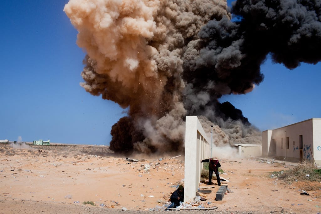 """Sebastian Meyer shot this image in Ras Lanuf, Libya. While his photograph doesn't necessarily convey the destructive effect of the explosion, the audio is """"genuinely terrifying,"""" he says. Listen to his recording at www.bjp-online.com."""