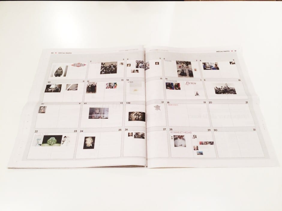 A flatplan with the missing images is included at the end of the newspaper, this time with all articles and written materials removed. Image © Olivier Laurent