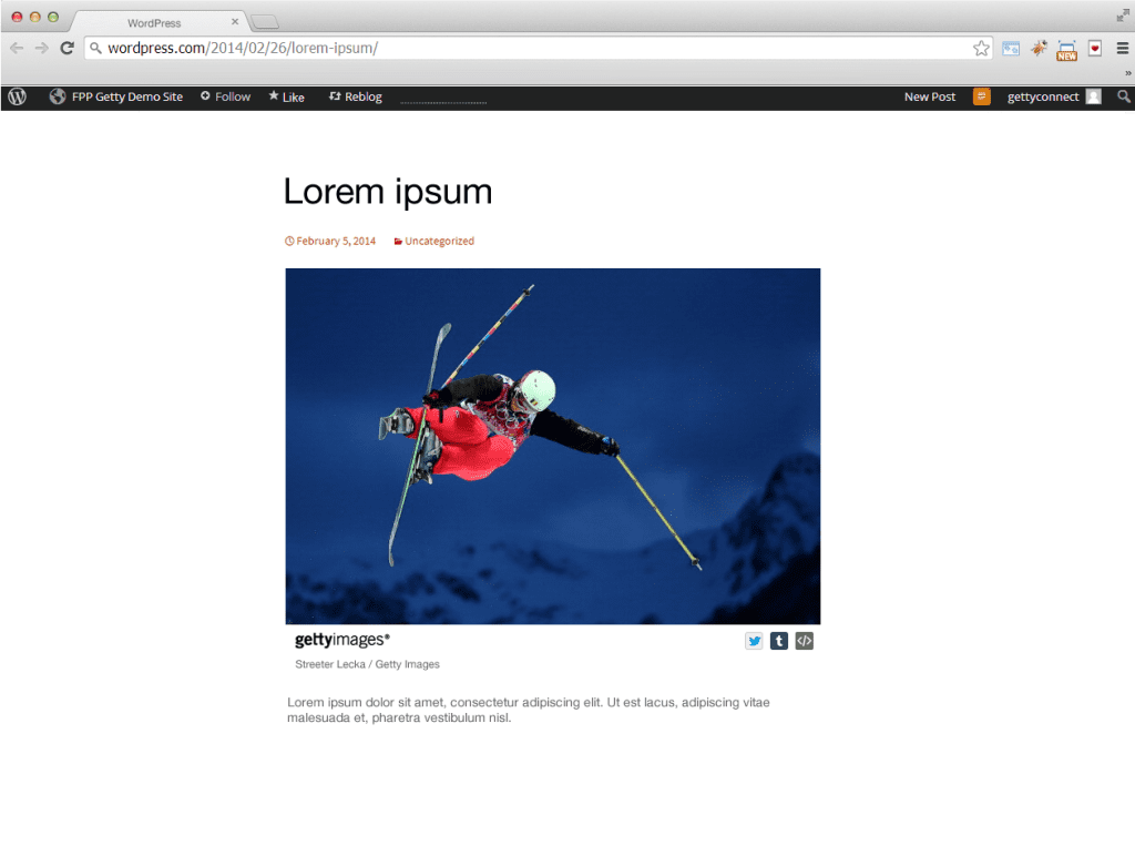 An example of how a Getty Images' photograph can be embedded on a blog.
