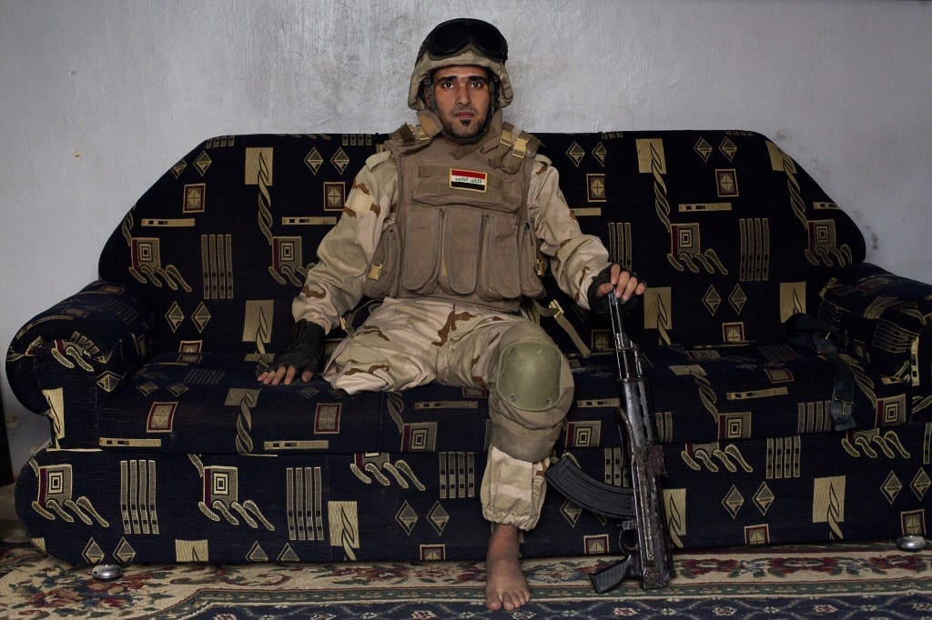 On 22 January 2012, an IED detonated near an Iraqi Army base in Fallujah. Hussein Jamil Abdullah, a 28 year-old soldier from Baghdad was nearby when the explosive discharged, knocking him to the ground. He lost his leg © Ali Arkady / VII Mentor Program