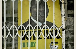 President Jacob Zuma election poster - Imizamo Yethu, Hout Bay, Cape Town © Dale Yudelman, from the series Life under Democracy