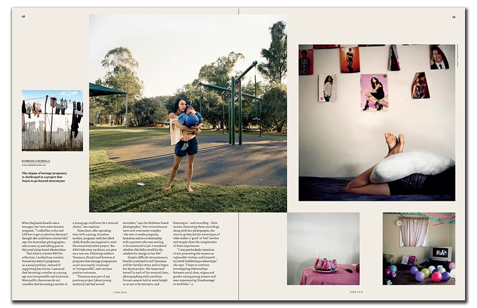 Raphaela Rosella's series about teenage pregnancy appears in June's Projects section, featuring the best new works in series