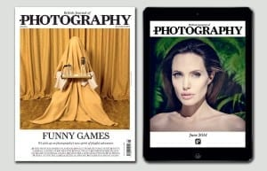 June's covers for print and iPad, featuring Patty Carroll (left) and Jason Bell (right)