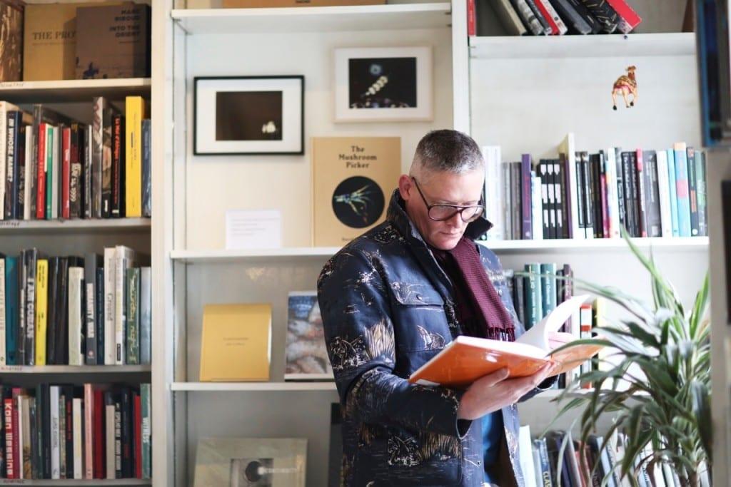 Giles Deacon at Claire de Rouen Books. Image © Jane Stockdale for Riposte magazine, 2013
