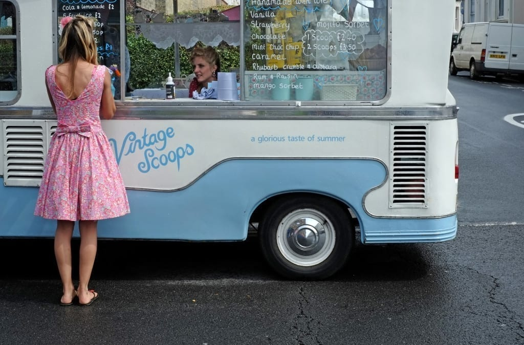 Vintage Scoops is the home of Betty, a 1973 Bedford ice cream van owned by Vic and Fiz McMullen who serve locally sourced traditional ice cream © Syd Shelton/FotoDocument