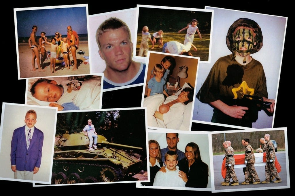 Danish soldier Christian Raaschou, 24, was killed on 31 March 2008 while on his fifth international mission in Afghanistan. Mads Nissen, working with Raaschou's family, made collages of private family pictures to show the soldier's journey from influenced child to war victim. Image © Mads Nissen, courtesy Panos Pictures