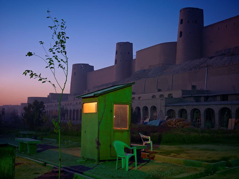 A security guard's booth at the newly restored Ikhtiaruddin citadel, Herat, 2010-2011. Image © Simon Norfolk / Institute