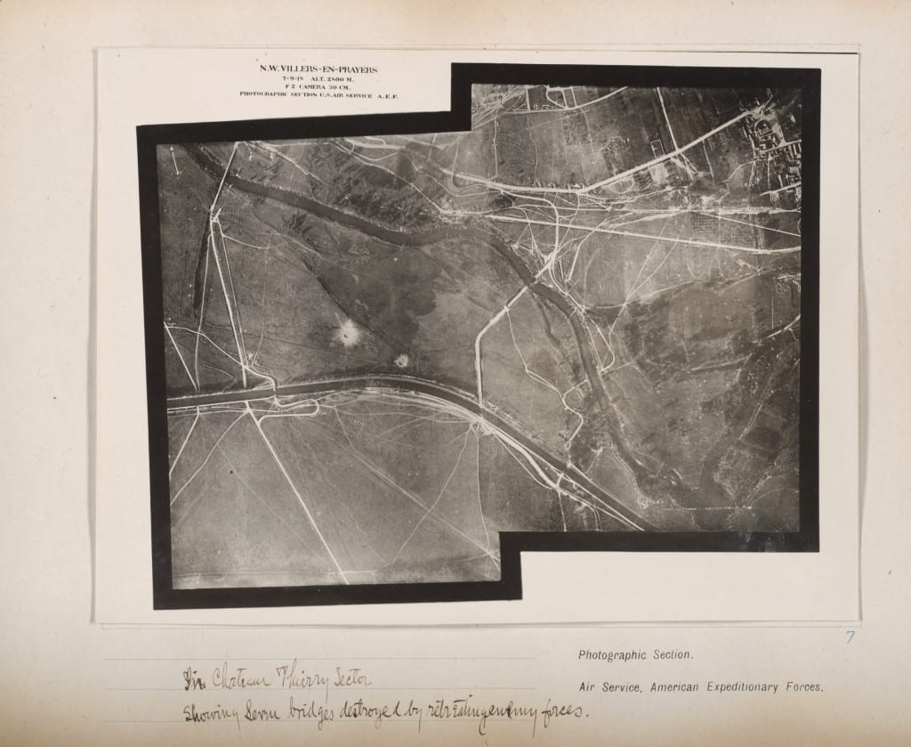 Photographic Section, U.S. Air Service, American Expeditionary Forces (AEF) and Major Edward J. Steichen, A.S.A. In Chateau Thierry Sector showing service bridges destroyed by retreating enemy forces, September 7, 1918 Gelatin silver print, from loose-leaf album of aerial photographs from the Photographic Section, Air Service, American Expeditionary Forces, World War I . The Art Institute of Chicago, gift of William Kistler. © 2014 The Estate of Edward Steichen/Artists Rights Society (ARS), New York