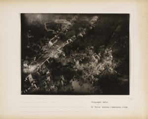 Photographic Section, U.S. Air Service, American Expeditionary Forces (AEF) and Major Edward J. Steichen, A.S.A. Untitled (Vaux), 1918/19. Gelatin silver print, from loose-leaf album of aerial photographs from the Photographic Section, Air Service, American Expeditionary Forces, World War I. The Art Institute of Chicago, gift of William Kistler. © 2014 The Estate of Edward Steichen/Artists Rights Society (ARS), New York