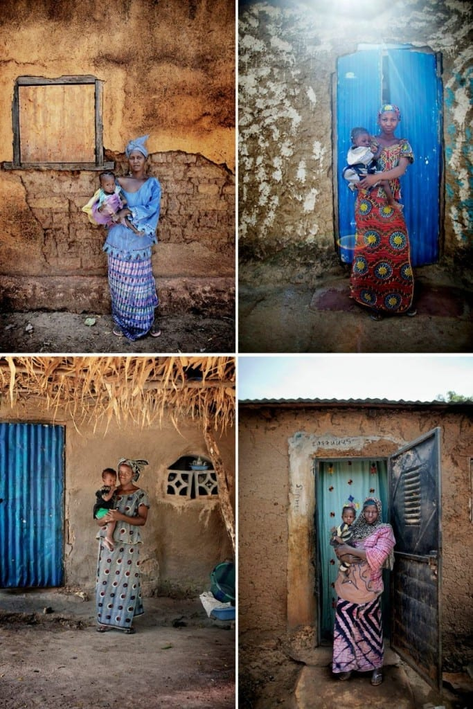 A collage of people photographed and interviewed as part of 'On Solid Ground' in Mali by Espen Rasmussen. From left to right: Djeneba Doumbia and her daughter Fatoumata Tangara, Aminata Coulibaly and her daughter Fatoumata Traore, Aissata Keita and daughter Kolen Camara, Adiara Doumbia and her daughter Rokia Doumbia. Image © Espen Rasmussen/IRC/Panos