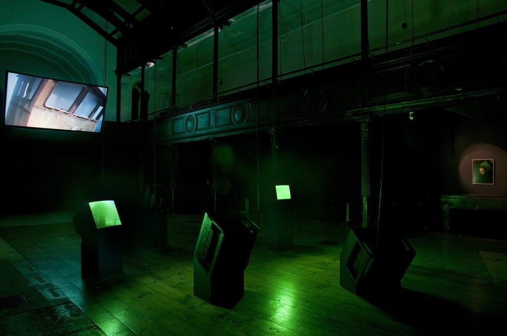 Installation view of Reef by Simon Faithfull, at Brighton Photo Biennial 2014. © Nigel Green