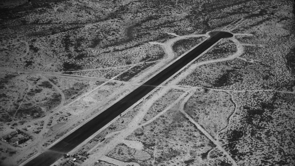 Still of the runway built for the production, later repurposed by a drugs cartel to transport narcotics. The Hollywood adaptation of Catch-22 assembled the sixth biggest airforce in the world for the purposes of the film.