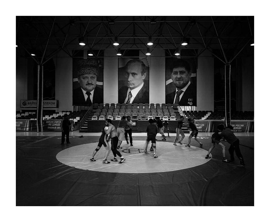 Wrestling training in the central gym. © Davide Monteleone