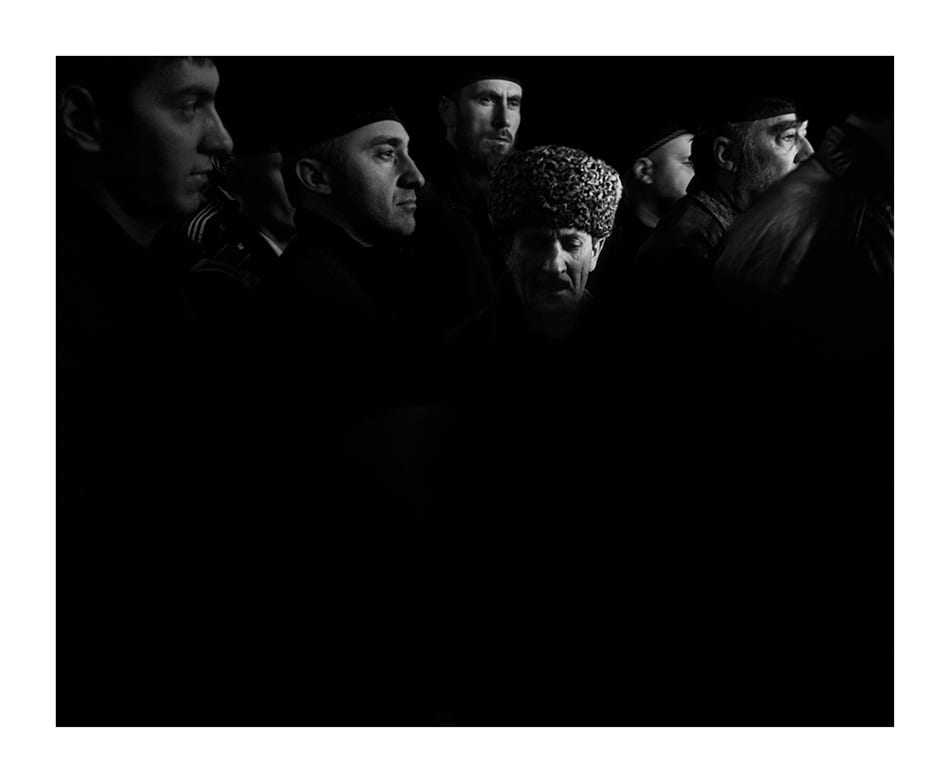 A group of men are leaving the Akhmad Kadyrov Mosque officially known as The Heart of Chechnya, after the Friday prayer. © Davide Monteleone