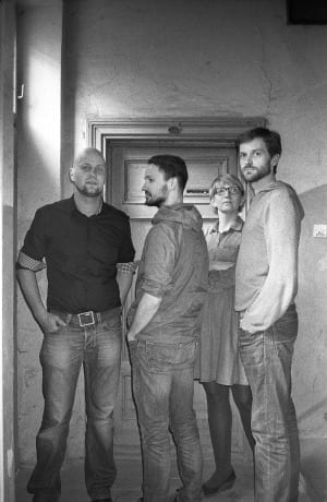 Sputnik Photos' members, from left: Adam Panczuk, Rafal Milach, Agnieszka Rayss and  Jan Brykczynski. Image © Michael Grieve