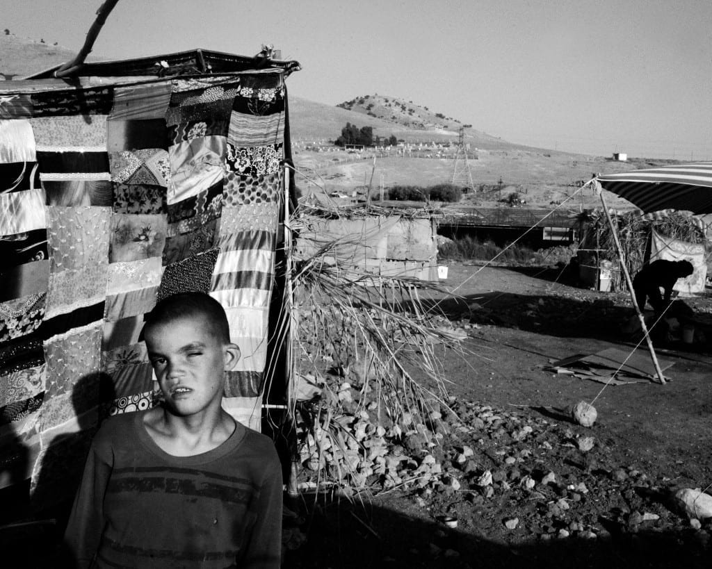 A Yazidi boy in a small camp in Zakho
