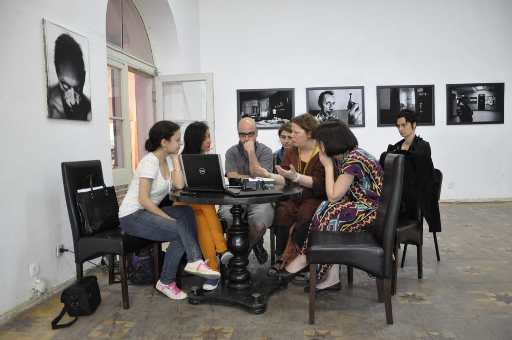 Offspring founder Mimi Mollica (centre, in glasses) next to Thames & Hudson's Johanna Neurath (with yellow bead necklace) discussing photographer's work at a Kolga Tbilisi Photo festival in Georgia. Image © Natia Rekhviashvili
