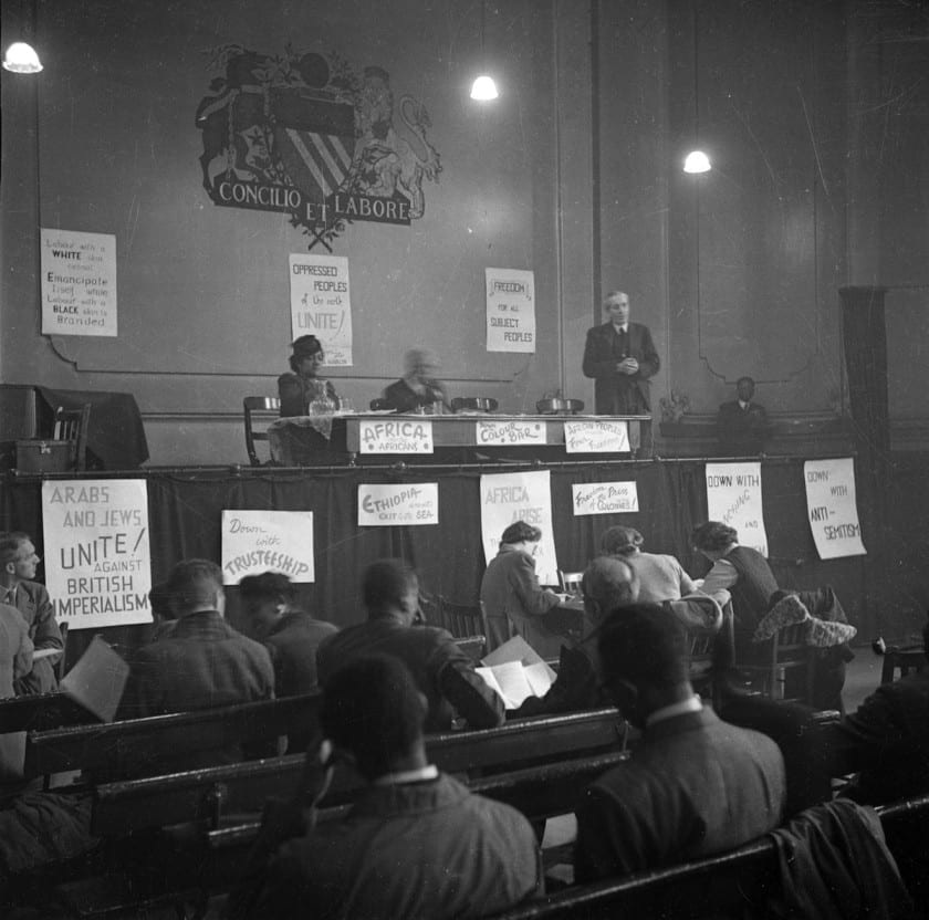 John McNair, General Secretary of the ILP (Independent Labour Party) addresses the first Pan-African Congress in Manchester. Also on the stage is Amy Jacques Garvey, the second wife of Marcus Garvey. (Photo by John Deakin/Picture Post/Getty Images)
