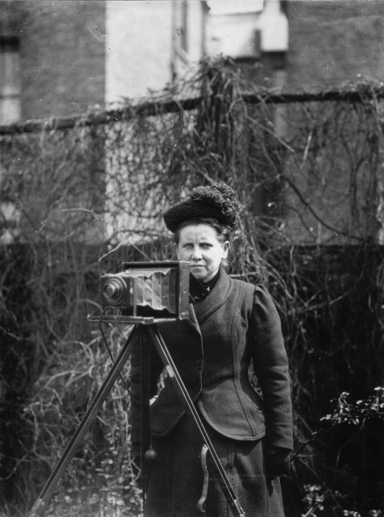 Portrait of Christina Broom taken by her daughter Winifred Broom, prior to the funeral of King Edward VII, May 1910
