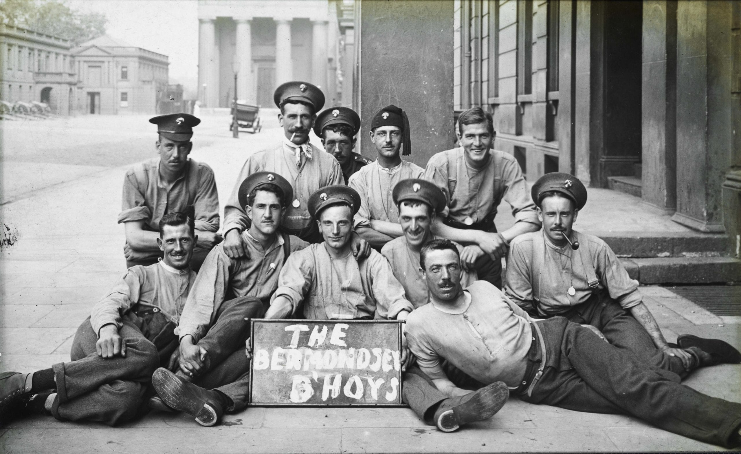 'Bermondsey B'hoys' from the 2nd Grenadier Guards inside their base at Wellington Barracks in either 1914 or 1915