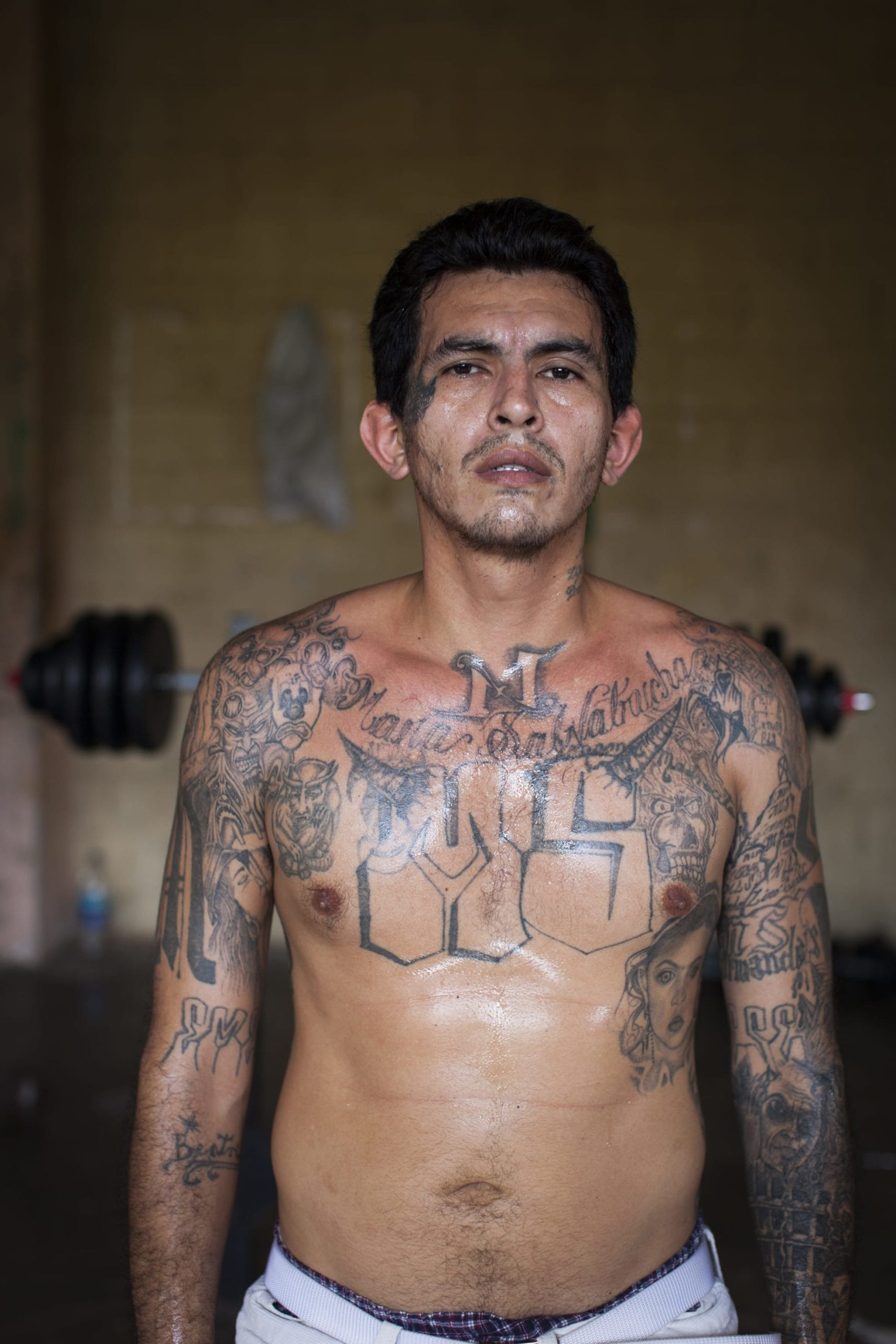 Portraits of gang members in a El Salvadoran prison too dangerous for the wardens to enter