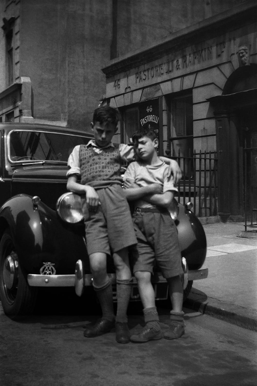 Italian Boys, Hutton Garden, London, 1948. O'Brien took this picture of his two Italian friends with his family's old brownie box camera in Clerkenwell
