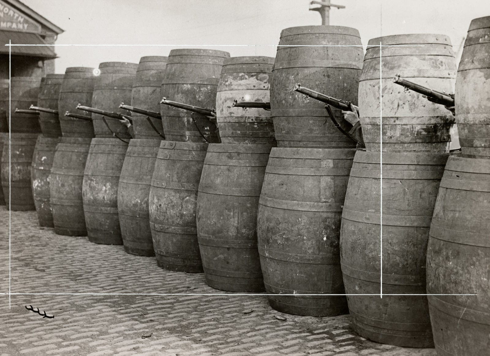Barricade made from barrels, 1916