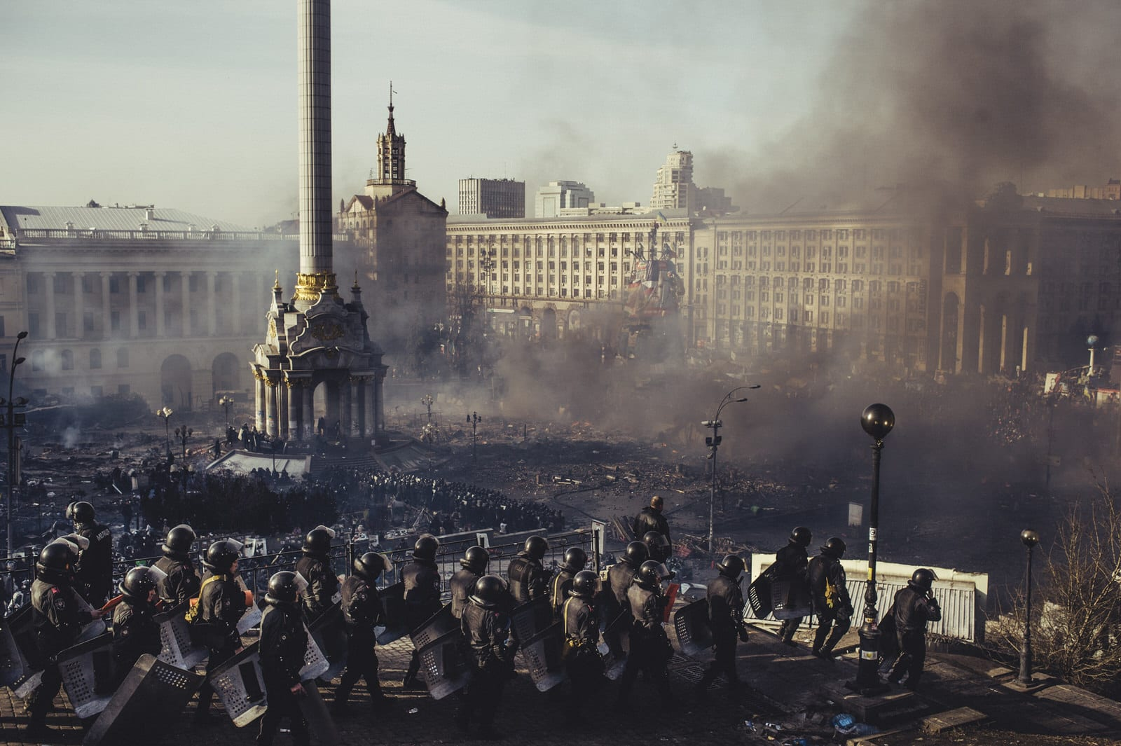 The attempt to block Parliament of Ukraine (Verhovna Rada). The police burned the Trade Union Federation of Ukraine – those still in the building were burned alive. 20th February 2014