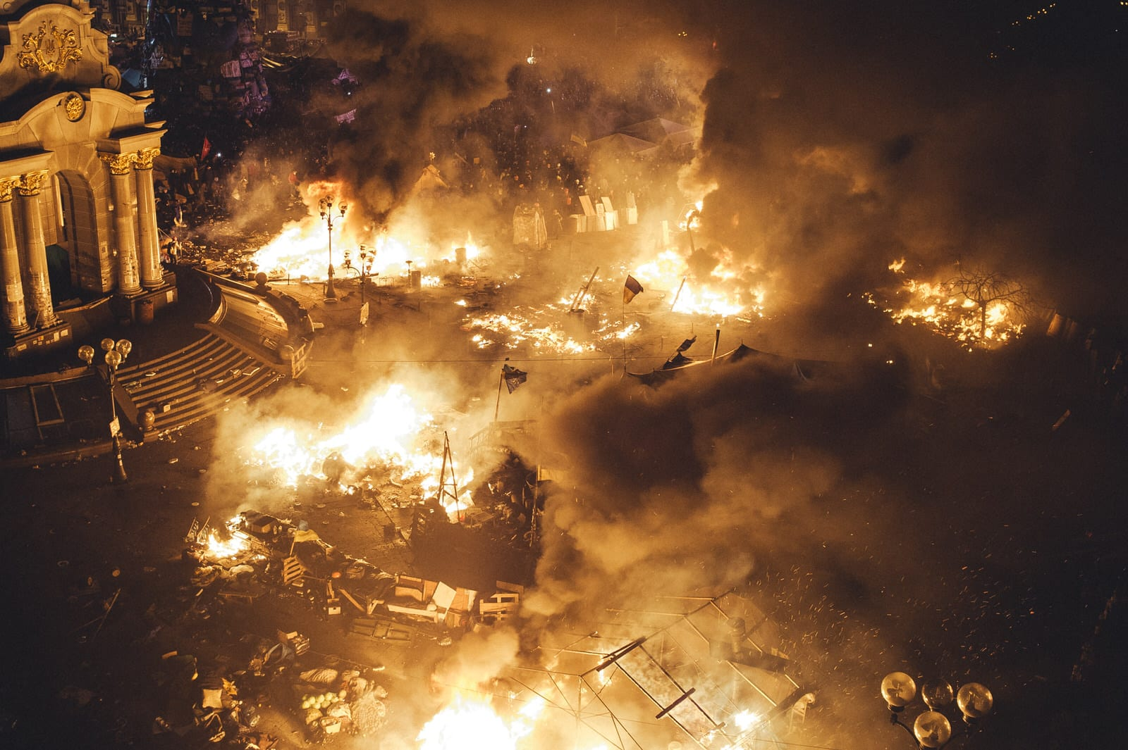 During another assault of the Maidan by police all the tents were burned. 18th February 2014