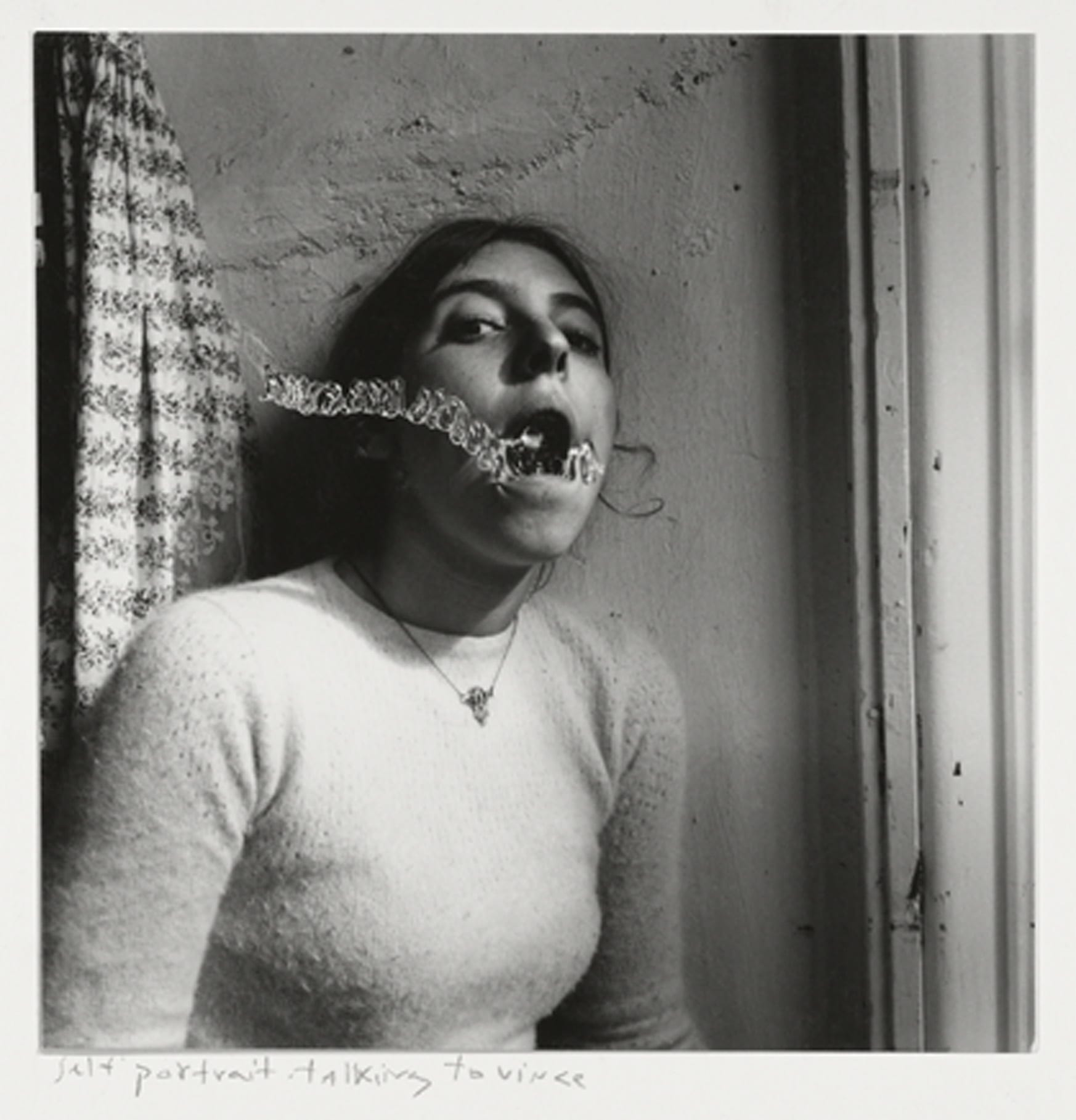 Francesca Woodman, Self-portrait talking to Vince, Providence, Rhode Island, 1977 © George and Betty Woodman NB: No toning, cropping, enlarging, or overprinting with text allowed.