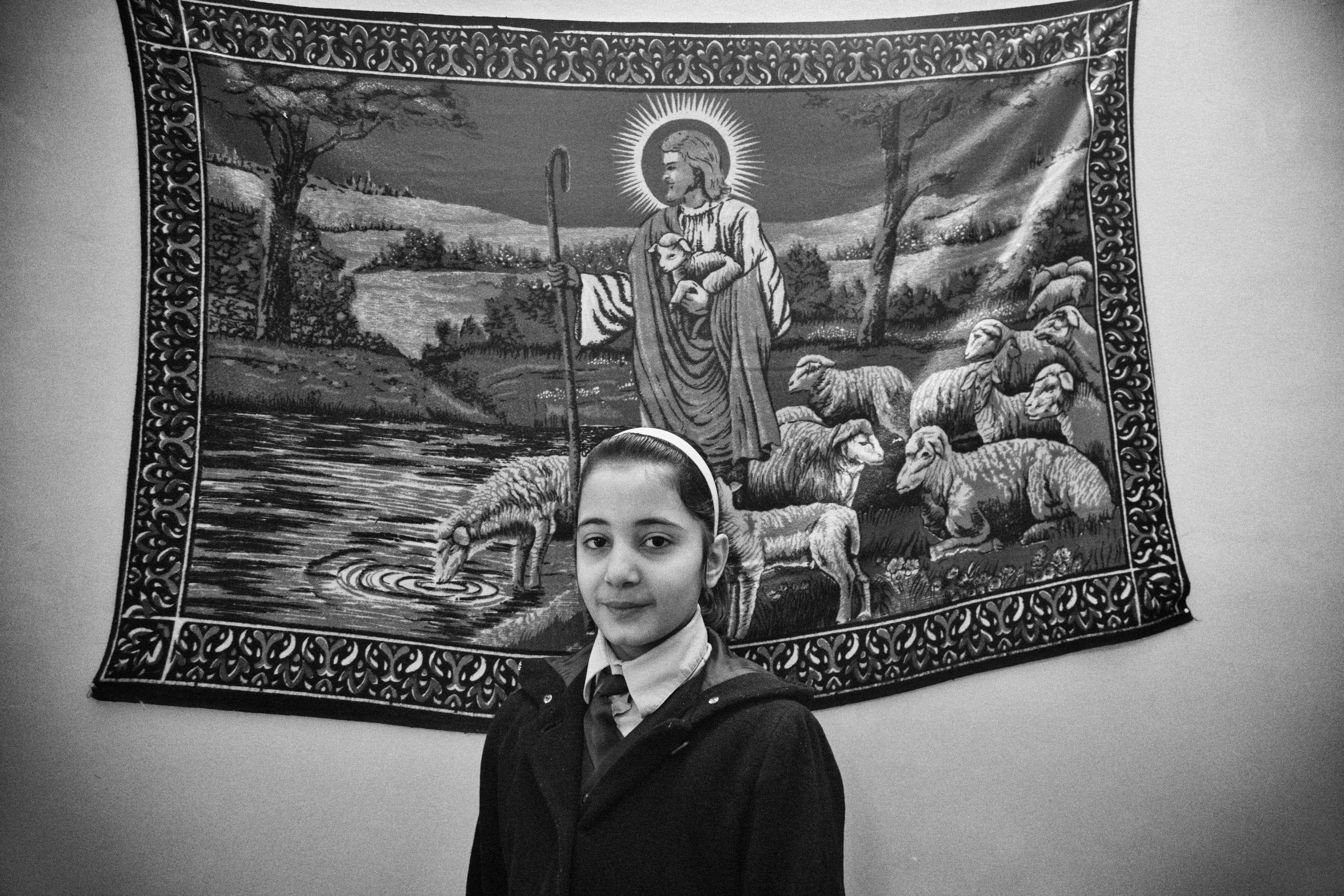 29.1.2015 Kirkuk , Iraq. Marta Ghanim, 11 years old, in her school dress. She studies at a Christian School in Kirkuk.
