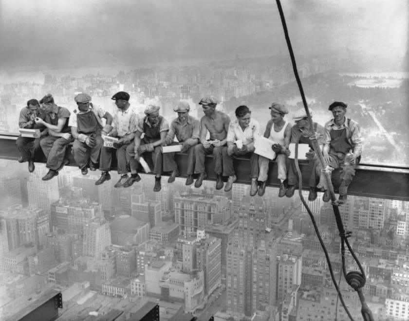 This well know photograph of New York construction workers lunching on a crossbeam is part of the Corbis Bettman collection.  Credit: Corbis Bettman  20 Sep 1932, Manhattan, New York City, New York State, USA --- While New York's thousands rush to crowded restaurants and congested lunch counters for their noon day lunch, these intrepid steel workers atop the 70 story RCA building in Rockefeller Center get all the air and freedom they want by lunching on a steel beam with a sheer drop of over 800 feet to the street level. The RCA building is the largest office building in terms of office space in the world. (original caption). Image taken 9/20/32; filed 9/29/32. --- Image by © Bettmann/CORBIS