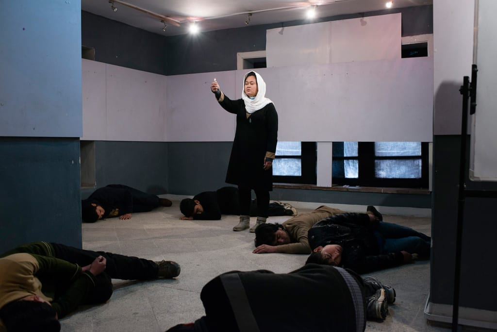 "KABUL, AFGHANISTAN | 2015-02-26 | Rehearsal of ""Death Puzzle"", an experimental play, by Kaveh Ayreek and his crew, Mim theatre group. Kaveh was born in Tehran and raised as refugee there and was deported back to Afghanistan at the age of 30."