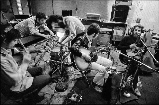 Getting ready for a take while recording The Band album, the pool-house studio. West Hollywood, CA, '69