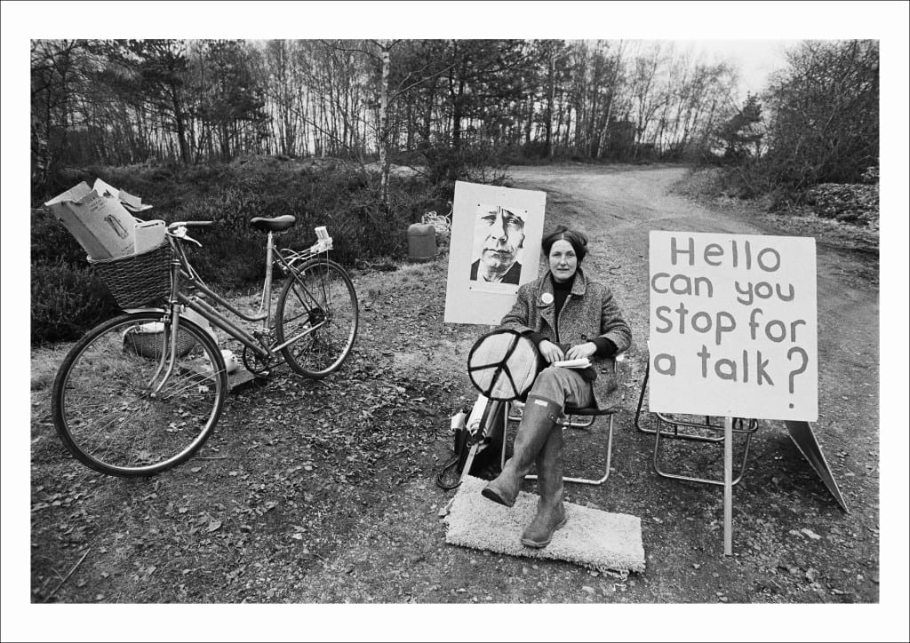 A picket mounted by the Women's Peace Camp at RAF/USAF Greenham Common, Berkshire (1982)