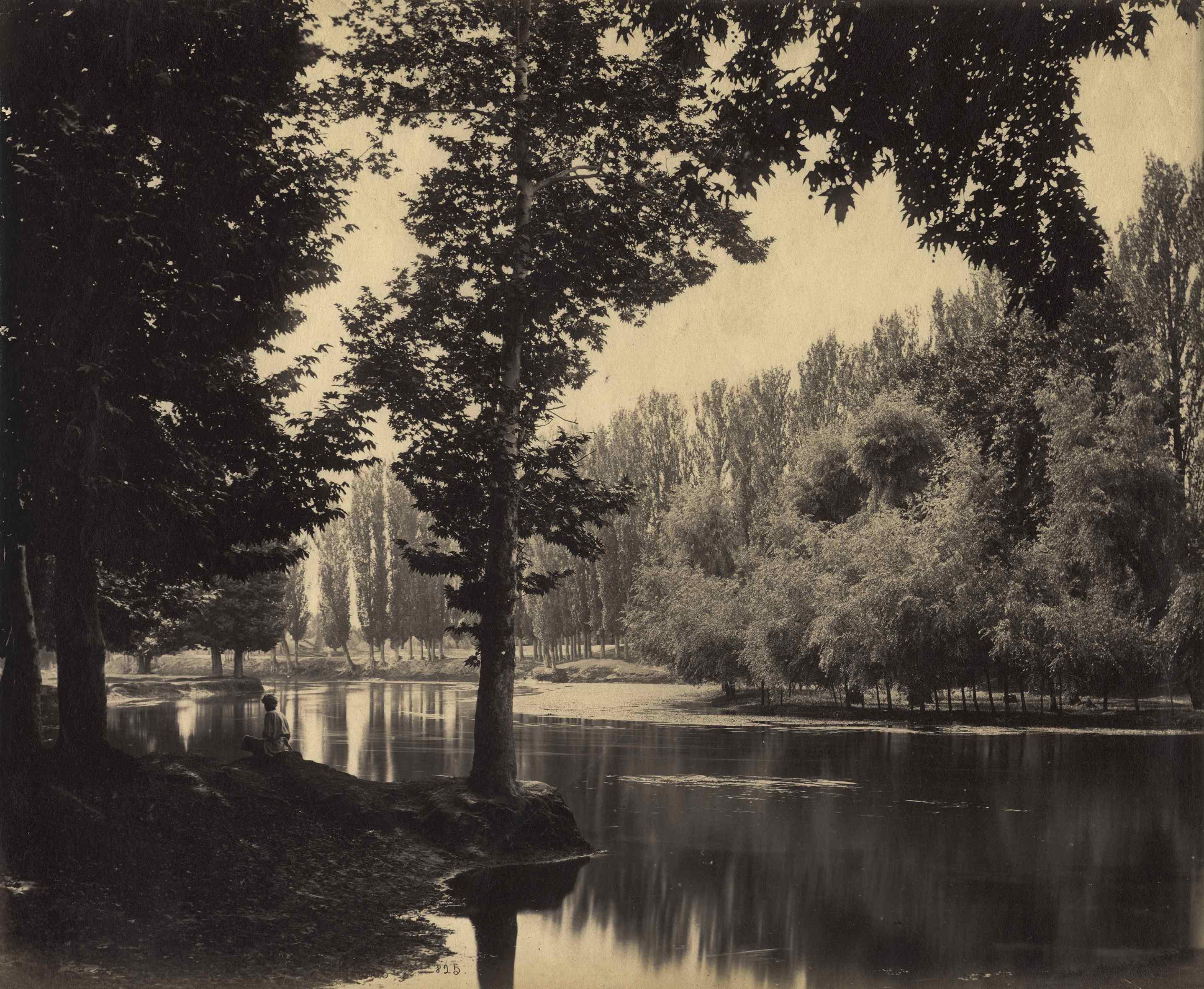 Samuel Bourne - 'View on the Dal Canal, Srinigar, Kashmir', India, c. 1865, Albumen print