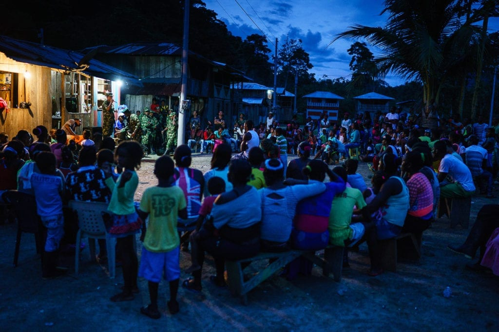 Residents of a small village gather to hear the FARC talk. They are welcomed to share their views on the on-going peace process in Havana. 2 May 2016. Photo © Federico Rios