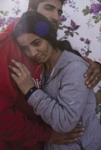 Calais, North of France, 25 October 2015. Hawraz and Hewar, Kurds from Iraq, have fled their country aiming to reach the UK. They eventually found stuck in the Jungle, her being pregnant of four weeks at their arrival.