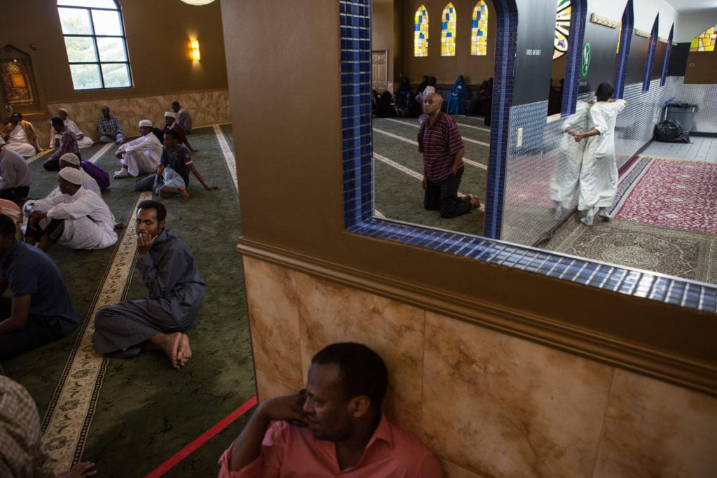Karmel, one of two major Somali malls in Minneapolis, hosted a Quran reading competition for children in its upstairs mosque — the event drew Somali families from all over the country. Since it was revealed that the FBI used a paid informant to build its case against a group of Somali youths convicted of trying to fly to Syria to join ISIS, there is widespread suspicion and fear within the Somali community that they may be monitored or even entrapped by law enforcement © Arthur Nazaryan