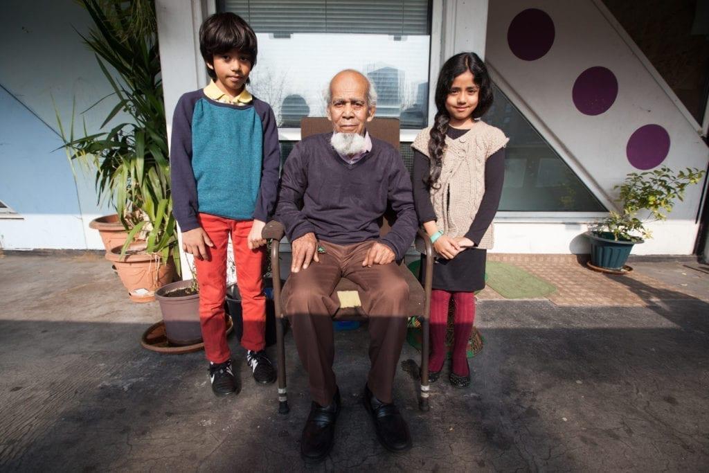 Moyna Miah and his grandchildren.