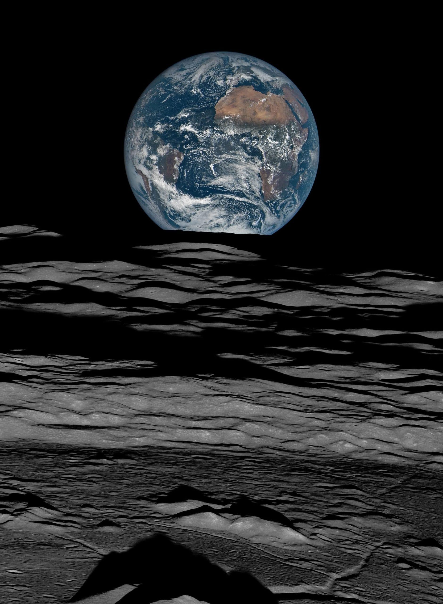 Earth Over the Lunar Horizon, Lunar Reconnaissance Orbiter, 12 October, 2015, 2016, Mosaic Composite Photograph, Digital C-print