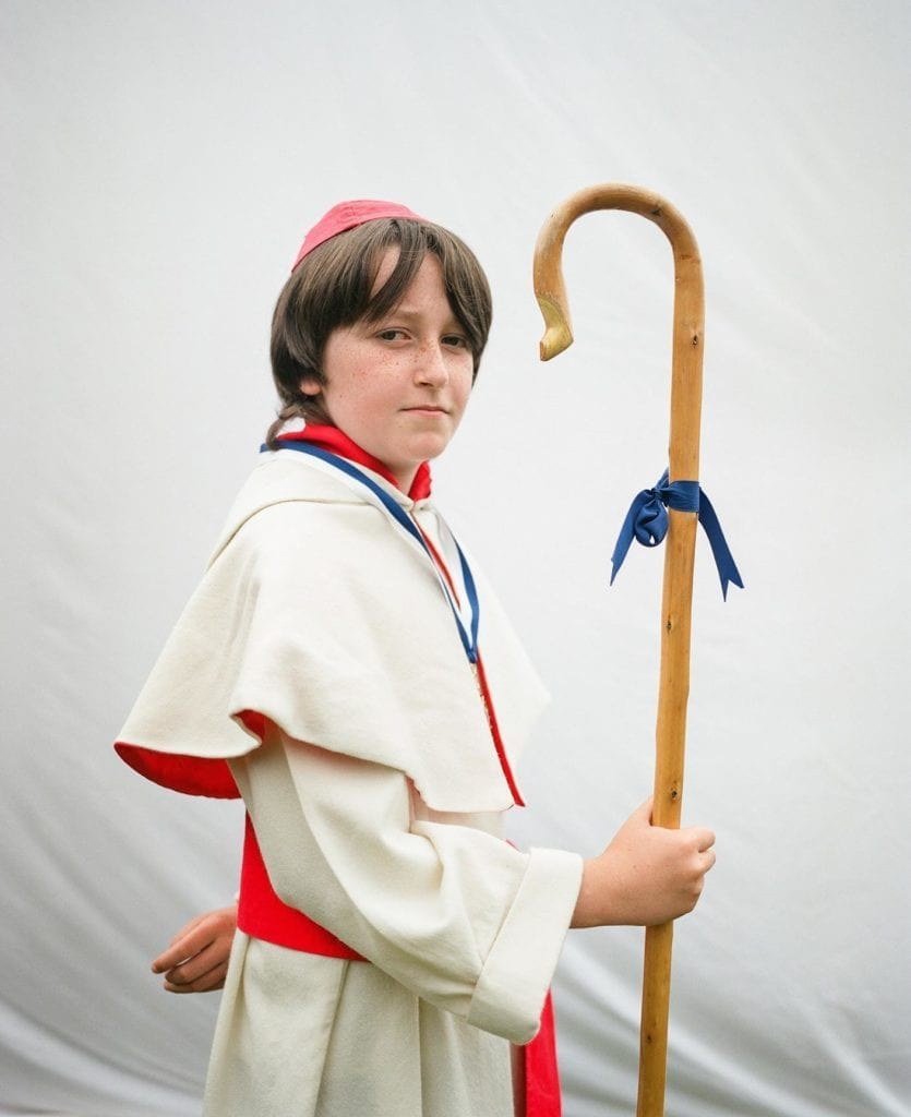 Ethan McMurdo as monk, St. Ronan's games festival, Innerleithen, Scotland on 19th July 2014.