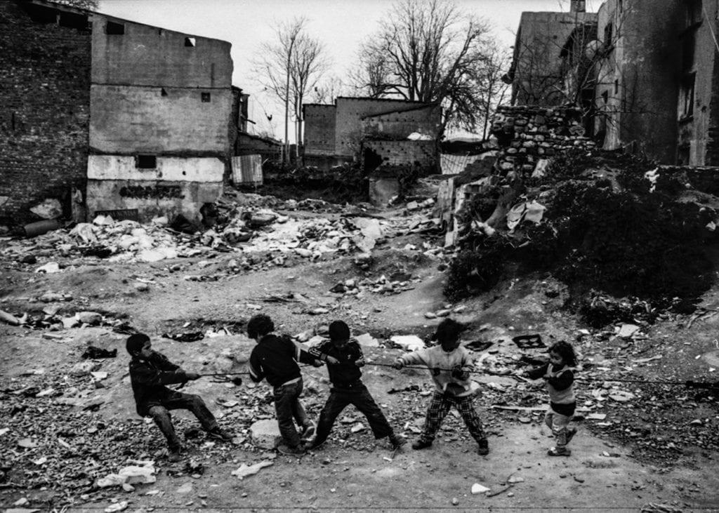 Syrian kids play tug-of-war near the Süleymaniye Mosque in Istanbul, spring 2015. From the series November is a beginning © Esa Ylijaasko