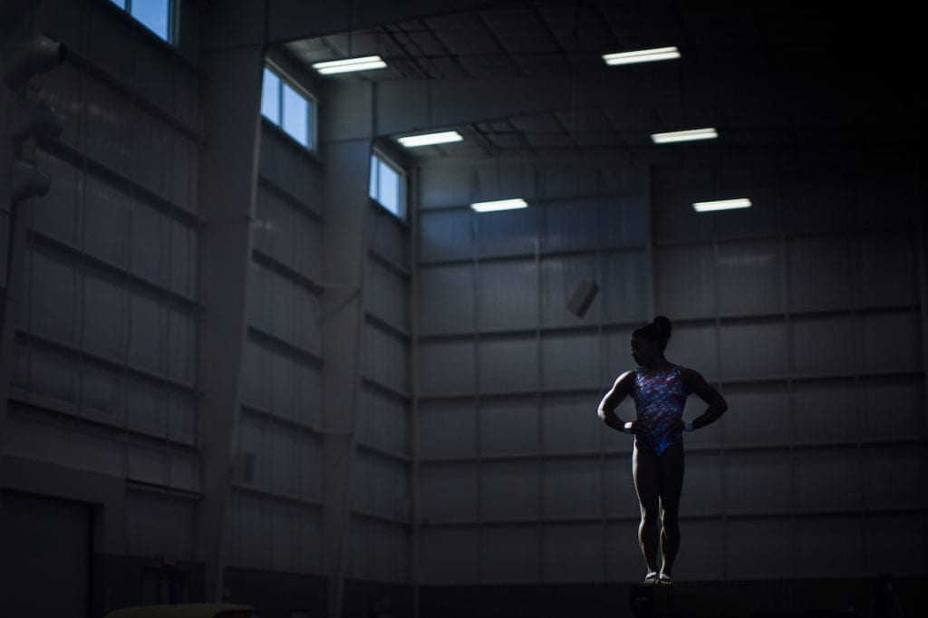 Location Houston, Texas : Date Sunday, Jan. 3, 2016: Simone Biles, 18, practices in her family's newly built gym (the World Champions Centre) in Houston, Texas. Biles is a three-time consecutive world champion and has more world championship medals than any female gymnast in history. This summer she will compete for the US Women's Olympics team in Rio de Janeiro, Brazil. Credit: LESLYE DAVIS/ The New York Times 30184621A NYTCREDIT: Leslye Davis/The New York Times