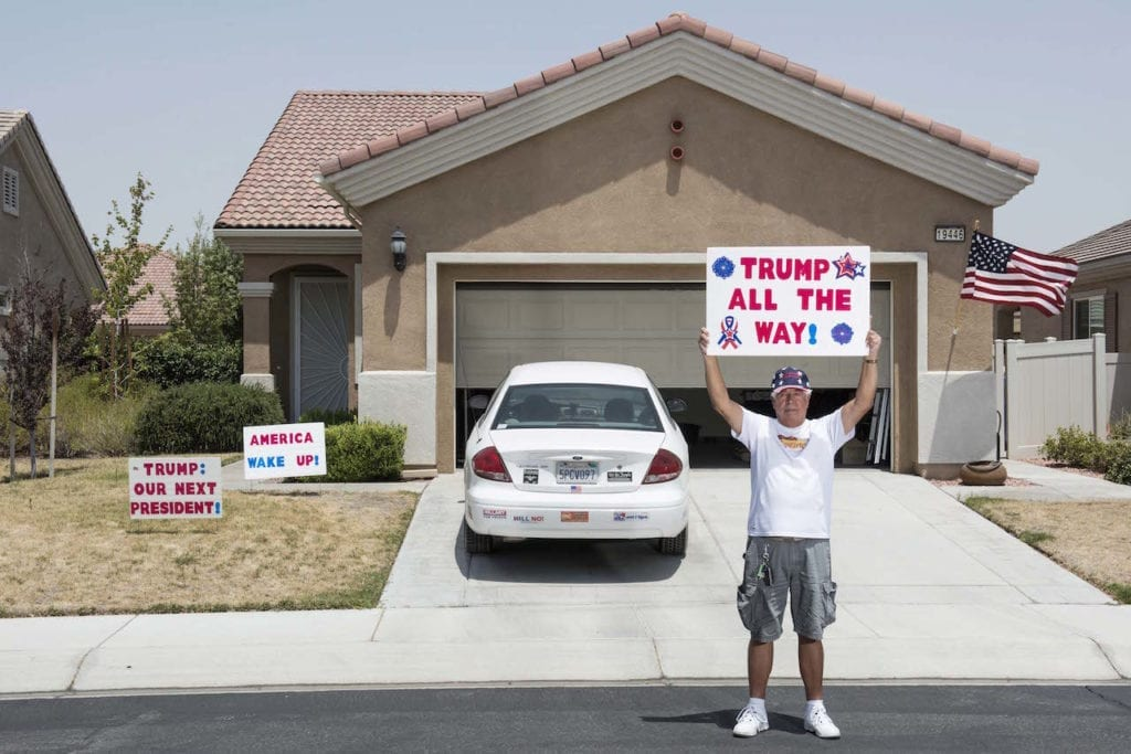"We think we know the archetypal Trump voter. He is white, male, blue-collar, frustrated and angry. But is that really the case? Are these the only people that will be voting for the Republican candidate? Trump has defied all predictions and surprised media and commenters more than once. Now it is time to meet some of his most unexpected supporters, the Latinos for Trump. ""I'm a proud American, I love this country, and I think it's time America, to wake up."" Raul Rodrigues jr. Apple Valley, California, from the series Los Trumpistas © Giulia Piermartiri & Edoardo Delille, Italy, shortlist, Professional, Portraiture, 2017 Sony World Photography Awards"