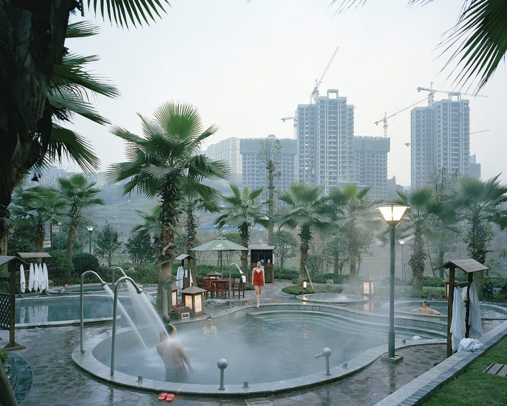 New hot spring spa complex at the Chongqing municipality, Fuling, China, January 2015. In western China, the pace of economic development has ushered in a new unprecedented period of transformation, one that has radically redefined the topography of the country while displacing significant parts of its population from rural areas to vast, newly-built mega cities. Semi-deserted landscapes carry a profound ambivalence, suggesting at the same time fecundity and sterility, a promise and nothingness. China West is a visual exploration of the impact economic development has had on western China's landscape, focusing on the dwindling interstice left between nature and urbanisation, a space, which, perhaps more than any other, reveals the true process of change. From the series China West © Julien Chatelin, France, shortlist, Professional, Architecture, 2017 Sony World Photography Awards