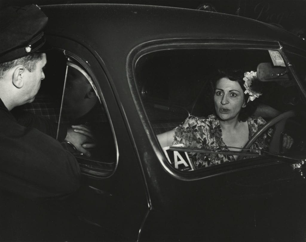 Shock. Sudden Death for One…Sudden Shock for the Other. Mrs. Dorothy Reportella, Accused of Hitting Bread Truck with her Car, Sept. 7, 1944. Image © International Center of Photography, courtesy Howard Greenberg Gallery