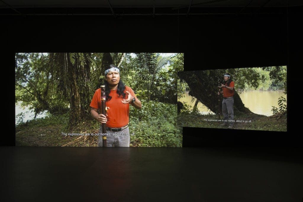 Stills from Forest Law by Ursula Biemann. The Swiss artist presents a video showing the Ecuador Amazon forest as a body fighting for the rights of nature in court, drawing on research from the region's oil and mining frontier.