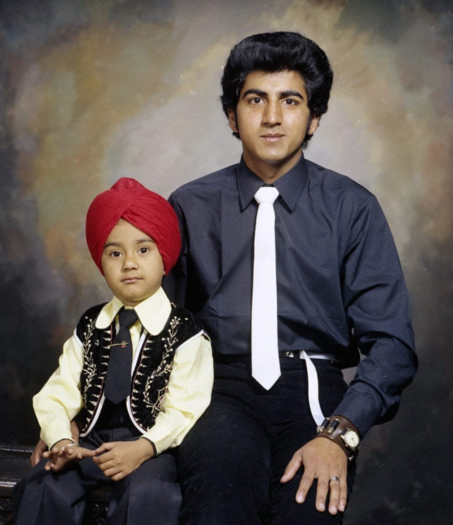 Studio portrait of father and son, 1980 © WW Winter Ltd